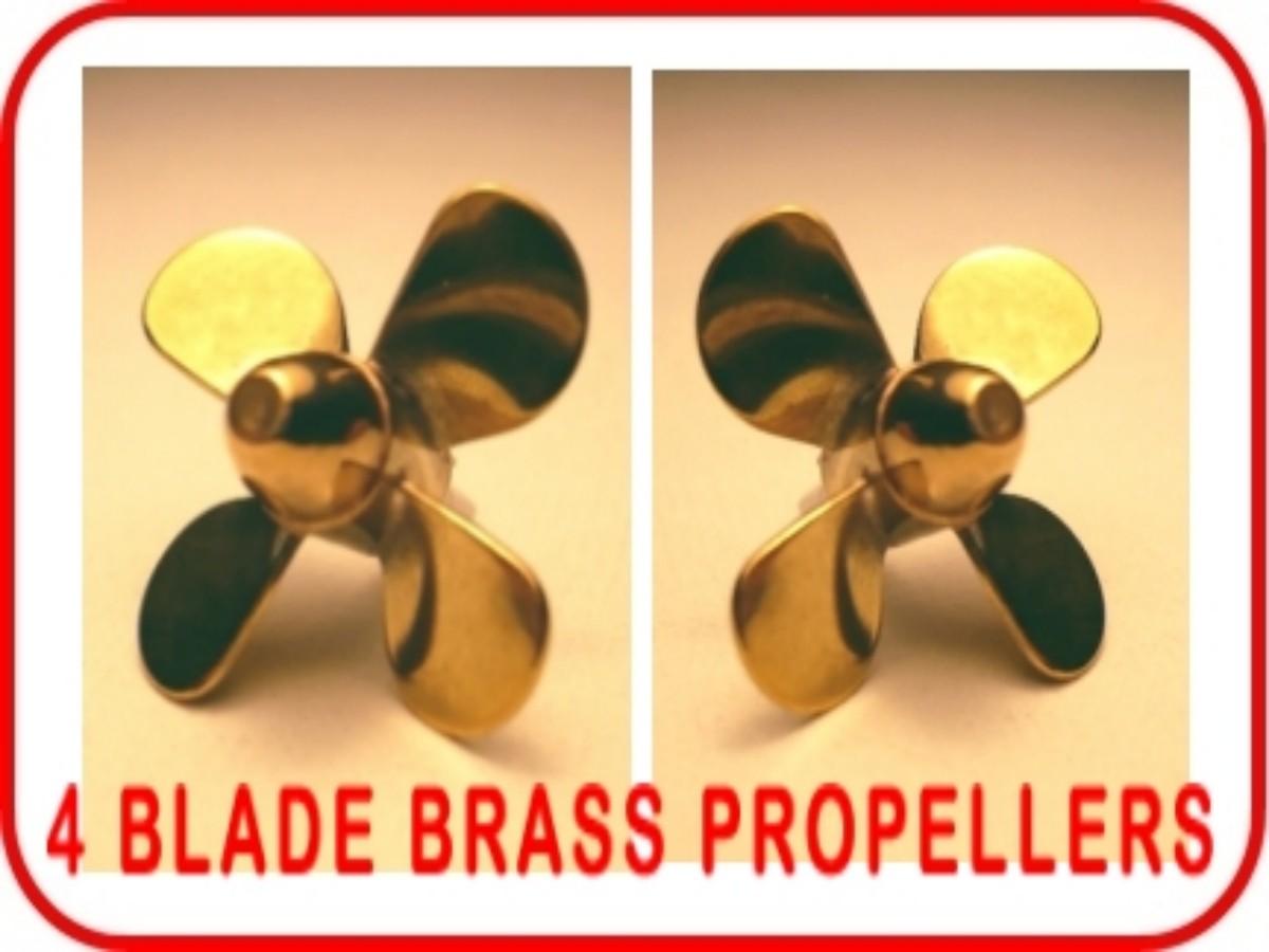 BRASS MODEL BOAT PROPELLER 40mm 3 BLADE RIGHT HAND M4 CLOCKWISE ROTATION