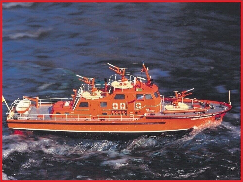 krick dusseldord fire-fighting boat 1:25 scale rc model kit including fittings